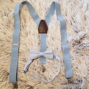 Baby blue suspenders and bowtie Child's size